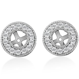 14k White Gold 1/2 ct TDW Diamond Earring Jackets Fit 1/2ct Stones