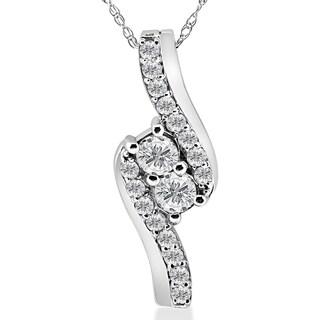 10k White Gold 3/4ct TDW Diamond Two Stone Pendant Necklace