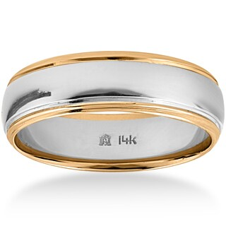 14k Two-Tone Gold Men's 6mm Polished Wedding Band