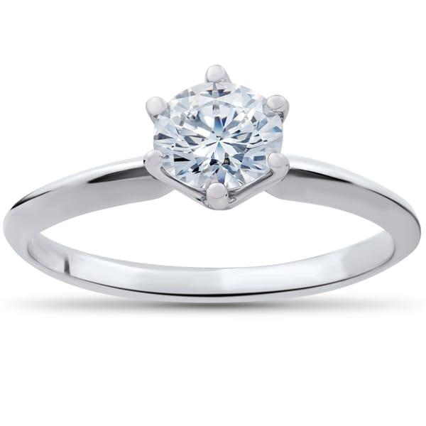 14k White Gold 7/8 ct TDW Diamond Engagement Ring Solitaire 14K White Gold