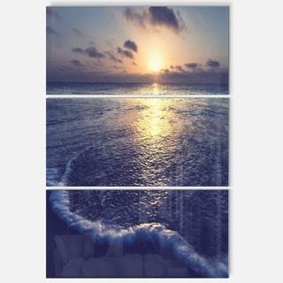 Designart 'Tranquil Blue Beach At Sunset' Seashore Glossy Metal Wall Art