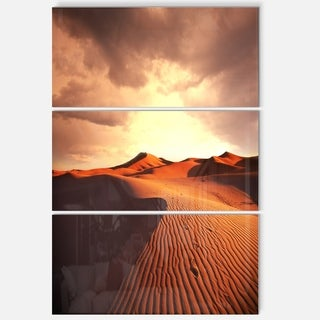 Designart 'Brown Desert Dunes At Sunrise' Extra Large African Landscape Glossy Metal Wall Art