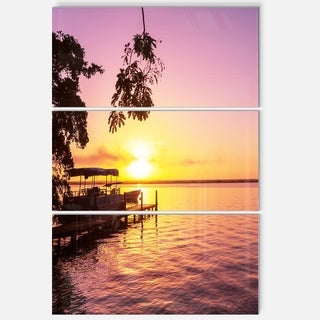 Designart 'Tropical Beach with Fantastic Sunset' Extra Large Landscape Glossy Metal Wall Art