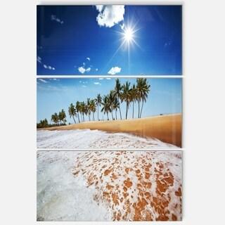 Designart 'Beautiful Seashore and Palm Trees' Seashore Glossy Metal Wall Art