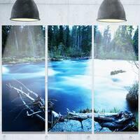 Designart 'Beautiful Blue River in Forest' Oversized Landscape Glossy Metal Wall Art