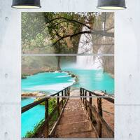 Designart 'Stairway into Beautiful Waterfall' Oversized Landscape Glossy Metal Wall Art