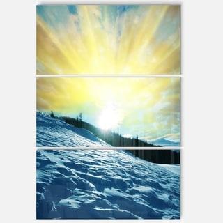 Designart 'Winter with Blue Waters At Sunset' Seashore Metal Wall Art