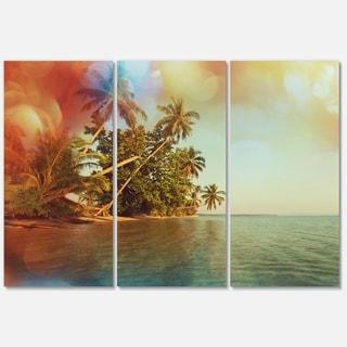 Designart 'Serene Tropical Beach with Palms' Seashore Glossy Metal Wall Art