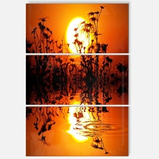 Designart 'Flowers Silhouette View At Sunset' Extra Large Landscape Glossy Metal Wall Art