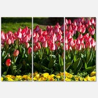 Designart 'Red Tulips with Yellow Purple Flowers' Large Flower Metal Wall Art