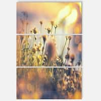 Designart 'Sunny Meadow Flowers and Grass' Large Flower Metal Wall Art