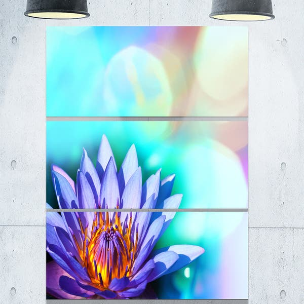 Designart Blossoming Purple Lotus Flower Floral Glossy Metal Wall Art
