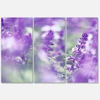 Designart 'Beautiful Purple Mint Flowers' Large Flower Glossy Metal Wall Art