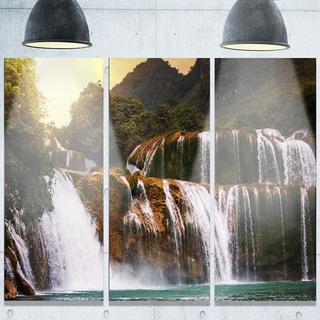 Designart 'Beautiful Waterfall in Vietnam' Landscape Glossy Metal Wall Art