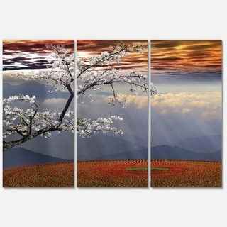 Designart 'Beautiful Flower Field At Sunset' Extra Large Landscape Glossy Metal Wall Art