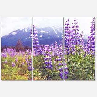 Designart 'Meadow in Alaska with Purple Flowers' Modern Flower Glossy Metal Wall Art