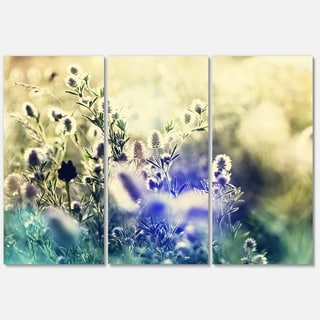 Designart 'Blue Mountain Meadow Flowers' Modern Flower Glossy Metal Wall Art