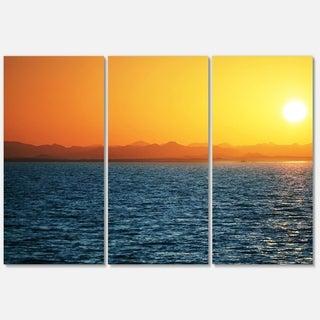 Designart 'Beautiful River View At Sunset' Large Seashore Glossy Metal Wall Art