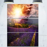 Designart 'Beautiful Sunset over Lavender Field' Large Floral Glossy Metal Wall Art