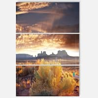 Designart 'Monument Valley under Cloudy Sky' Oversized African Landscape Glossy Metal Wall Art
