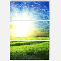 Designart 'Bright Green Field At Sunrise' Oversized Landscape Glossy Metal Wall Art