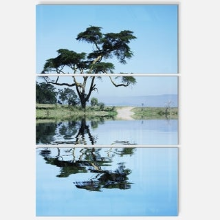 Designart 'Beautiful Tree Reflecting in Lake' Oversized Landscape Glossy Metal Wall Art