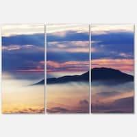 Designart 'Amazing Java Mountain in Fog' Oversized Landscape Glossy Metal Wall Art