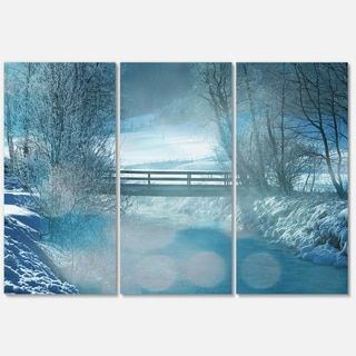 Designart 'Beautiful Winter River View' Oversized Landscape Glossy Metal Wall Art