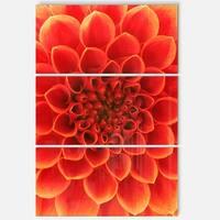 Designart 'Orange Abstract Floral Design' Modern Floral Glossy Metal Wall Art