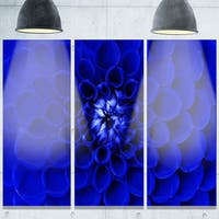 Designart 'Abstract Blue Flower Design' Extra Large Floral Glossy Metal Wall Art