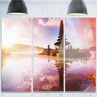 Designart 'Beautiful Ulun Danu Temple' Oversized Landscape Glossy Metal Wall Art