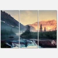 Designart 'Glacier National Park Montana' Landscape Glossy Metal Wall Art