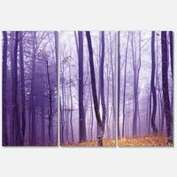 Designart 'Magenta Foggy Fairytale Forest' Large Forest Glossy Metal Wall Art