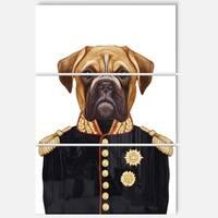 Designart 'Funny Boxer Dog in Military Uniform' Modern Animal Glossy Metal Wall Art