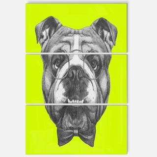 Designart 'English Bulldog with Bow Tie' Contemporary Animal Art Metal Wall Art
