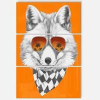 Designart 'Fox with Mirror and Sunglasses' Contemporary Animal Art Metal Wall Art