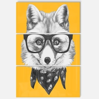 Designart 'Funny Fox with Formal Glasses' Contemporary Animal Art Metal Wall Art