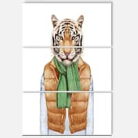 Designart 'Tiger in Vest and Sweater' Contemporary Animal Art Metal Wall Art