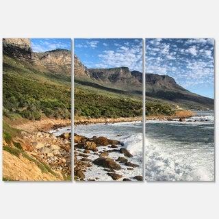 Designart 'Beautiful South African Seashore' Large Seashore Glossy Metal Wall Art