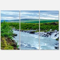 Designart 'Hraunfossar Waterfall Iceland' Modern Landscape Glossy Metal Wall Art