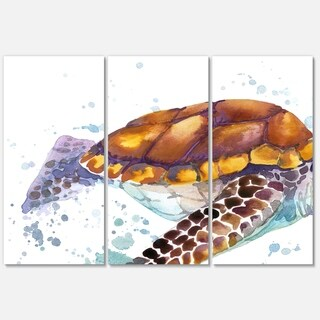 Designart 'Brown Sea Turtle Watercolor' Contemporary Animal Art Metal Wall Art
