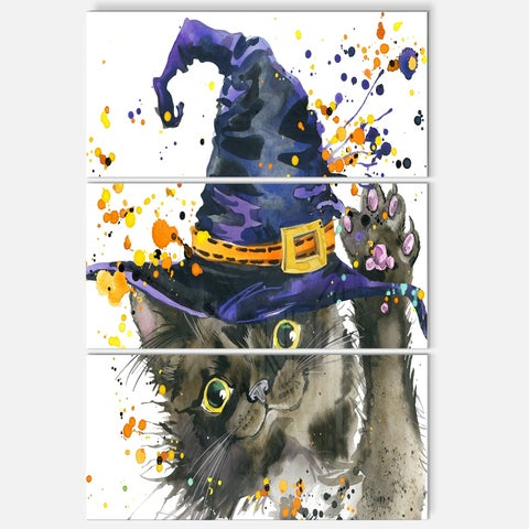 Designart 'Halloween Cat and Witch Hat' Contemporary Animal Art Metal Wall Art