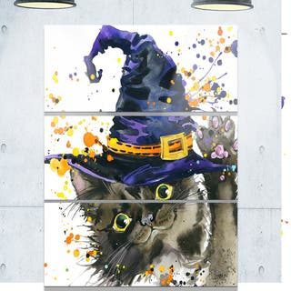 Designart 'Halloween Cat and Witch Hat' Contemporary Animal Art Metal Wall Art|https://ak1.ostkcdn.com/images/products/14183511/P20781259.jpg?impolicy=medium