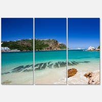 Designart 'Beautiful Knysna Beach South Africa' Large Seashore Glossy Metal Wall Art