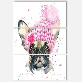 Designart 'French Bulldog with Pink Hat' Contemporary Animal Art Metal Wall Art