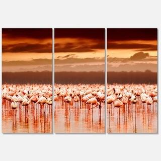 Designart 'African Flamingos View At Sunset' Large Flower Glossy Metal Wall Art