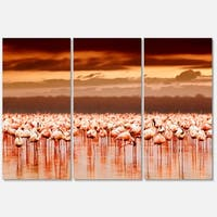 Designart 'African Flamingos View At Sunset' Large Flower Glossy Metal Wall Art