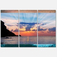 Designart 'Beautiful Raising Sun and Mountains' Large Landscape Glossy Metal Wall Art