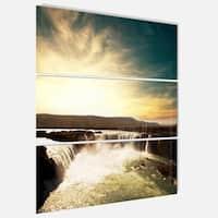 Designart 'Dramatic Iceland Waterfalls' Large Seashore Glossy Metal Wall Art