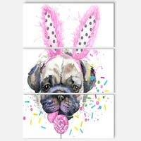 Designart 'Cute Dog with Pink Feather Hat' Contemporary Animal Art Metal Wall Art